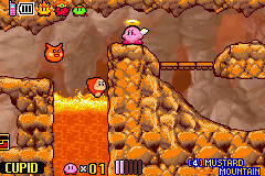 Kirby & the Amazing Mirror - Level mustard mautain - freaking lava walkers - User Screenshot
